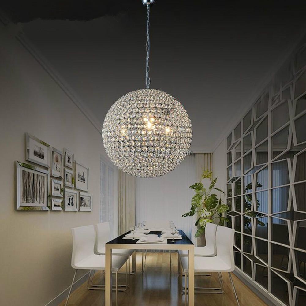 luxe ronde boule de cristal suspendus pendentif lustre luminaire lustre id de produit. Black Bedroom Furniture Sets. Home Design Ideas