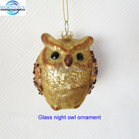 Vintage dark brown hand blown glass owl Christmas ornament for Christmas tree decoration