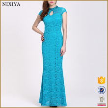 Wholesale Women Blue Long Lace Party Dress For Lady