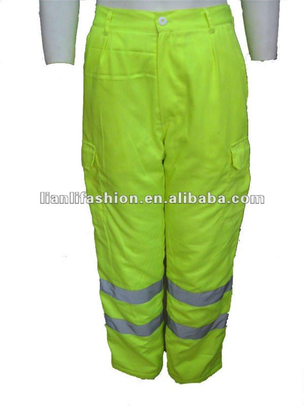 fluroscent yellow refletive safety working padded pants