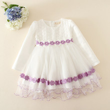 baby grils wedding flower dress/children girl party dress for autumn
