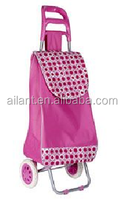 pink beautiful folding leisure travel shopping trolley bag