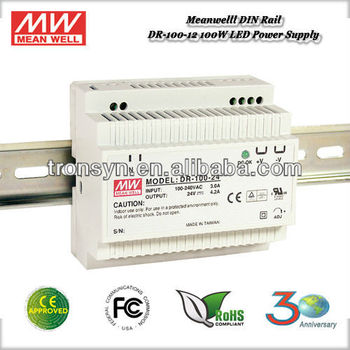 Meanwell DR-100-12 (100W 12V 7.5A) Single Output Industrial DIN Rail Power Supply