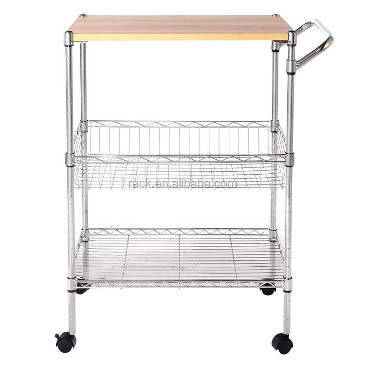 Durable Wire Kitchen Cart Chrome Wire Shelving Equipment