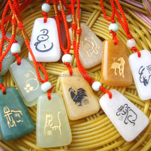 Chinese zodiac animals necklace Gem Stone pendant semi-precious stones pendants Can be customized