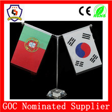 Portugal and South Korea desk table flag with steel pole and base, Table National Flag(HH-flag-104)