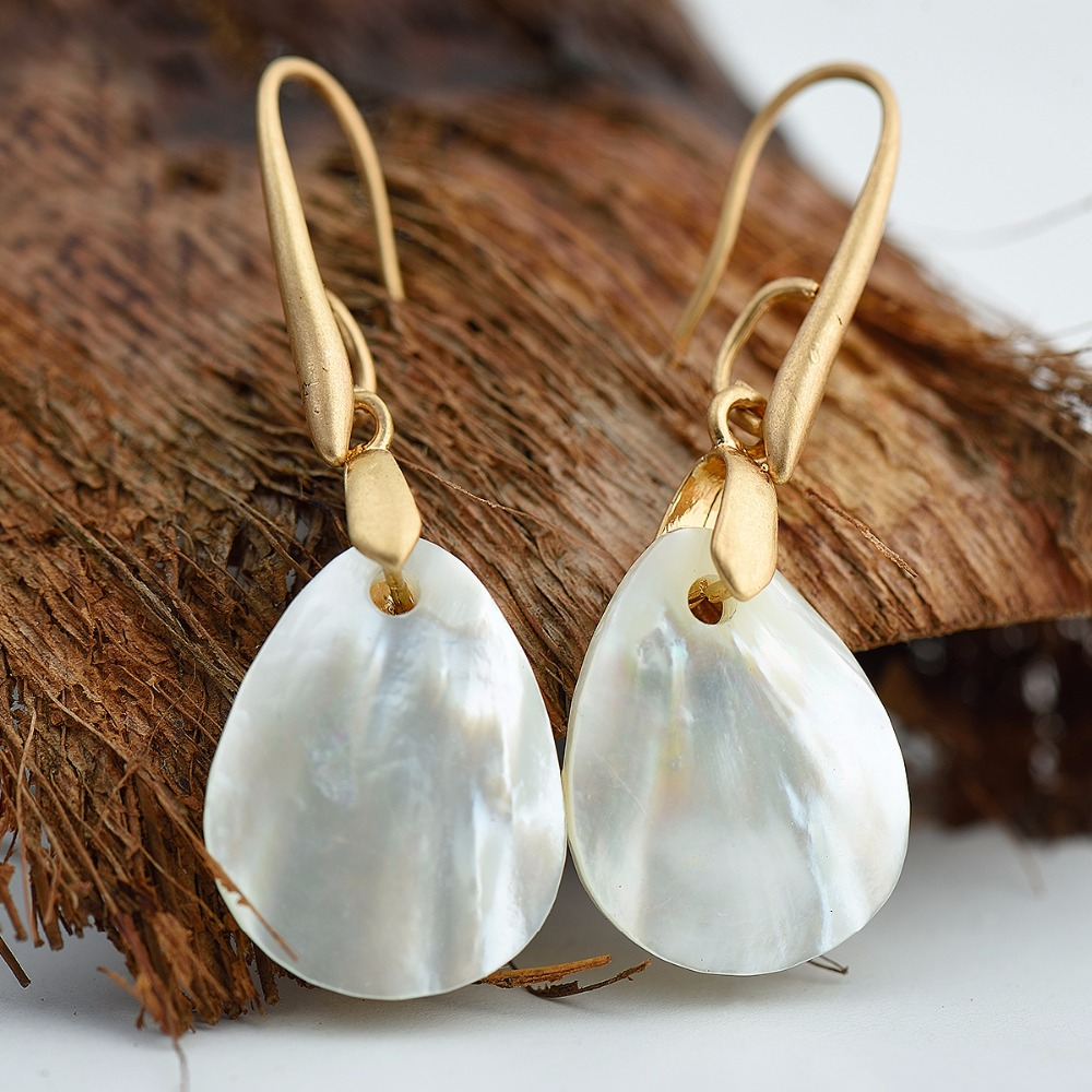 Women Natural Shell Pendant Dangle Earrings,Gold Plated Hook Earrings <strong>Jewelry</strong> For Girls