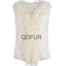 QD30296-1 Fashion Dress Women Middle Rabbit Fur Vest with Tibet Sheep Fur from China