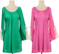 PLUS SIZE WOMEN CROCHET SLEEVE TOPS DESIGNS FASHION WHOLESALE TUNICS WITH CROCHET CUFF SLEEVE S,M,L,XL,1XL,2XL,3XL,4XL,5XL,6XL