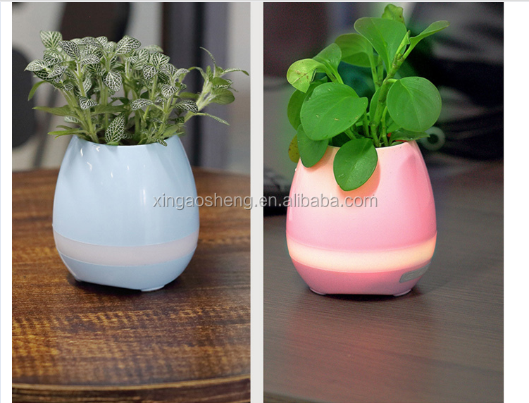 Smart Flower Planter Bluetooth Music Speaker Plants Pots with Rechargeable LED Light