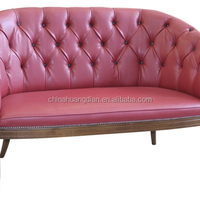 Chester Pu Leather Sofa With Wood