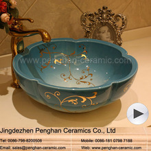 Jingdezhen factory direct home decoration bathroom ceramic art wash basin