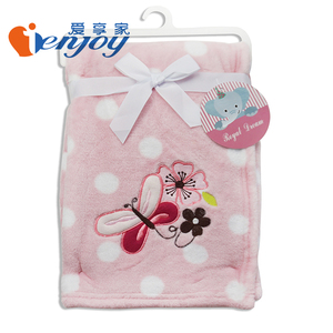 Ienjoy Coral Fleece Blanket Printed & Embroidered Baby Blanket Fleece