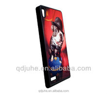 TPU material case for Huawei Ascend P6 cover with aluminum sheet