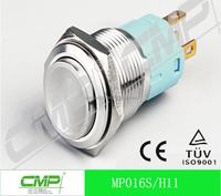 CMP 16mm waterproof stainless High head electrical on off push button switch