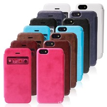 cheap wallet pu leather cell mobile phone case pu leather case for iphone 5 window view case for iphone