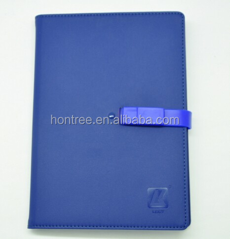 business pu leather notebook with usb closure note book