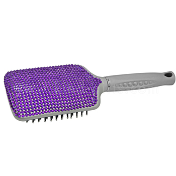 factory wholesale sparking purple diamond hair brush