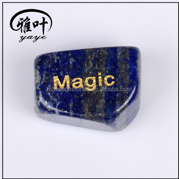 Wholesale Engraved Lapis Lazuli Tumbling stone engraving magic Tumblestones