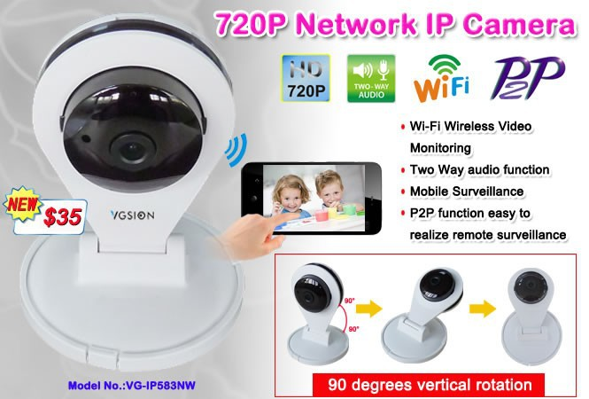 Unique design Cobra style Pan Tilt WiFi Wireless with Two Way audio 720P P2P IP Camera alibaba china new product for 2015