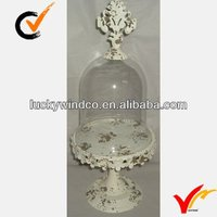 wedding white antique decor thin metal plate with glass cloche
