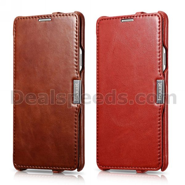 Icarer Vintage Series Side-open Leather Case for Samsung Galaxy Note 4 N910(Red)