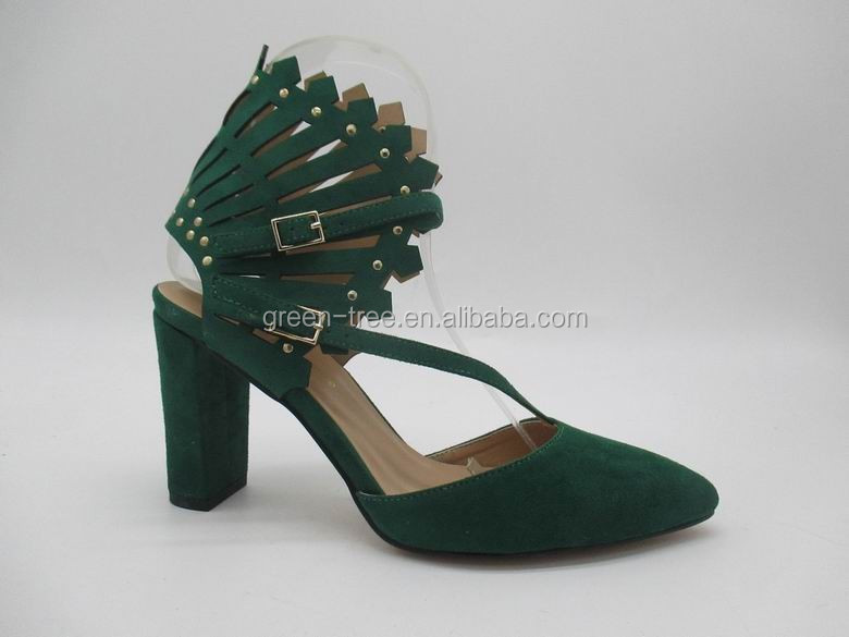 Newest fashion special fan upperthick heel shoes women lady
