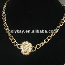 2013 fashion jewelry gold plated pave chain link necklace with small Lionhead charm