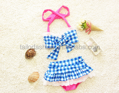 2015 New Children Swimwear Baby Girls Lovely Grid Bikini kid Beachwear Two Pieces swimsuit
