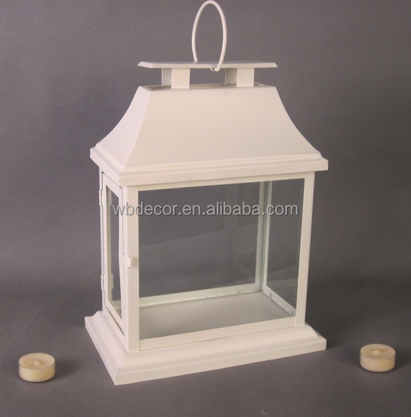 Large Metal Lantern. Metal Candle Holder. Pillar Candle Lantern in white