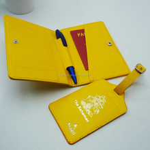 fashion yellow pu leather gift set passport tag and luggage tags