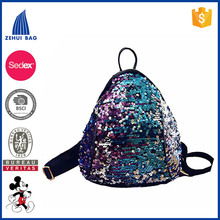 Woman's Mini Triangle Sequin Backpack Rucksack Travel Bag Street Focus Korean Style Sexy Purple Sequin PU Day Rucksack for Teens