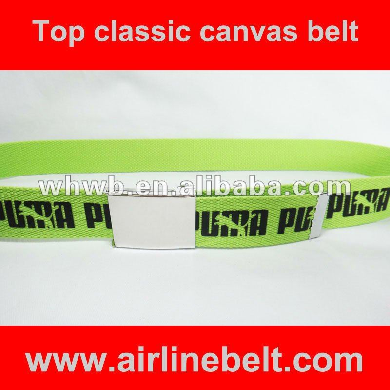Basic unique fashion geen canvas belt with printing logo