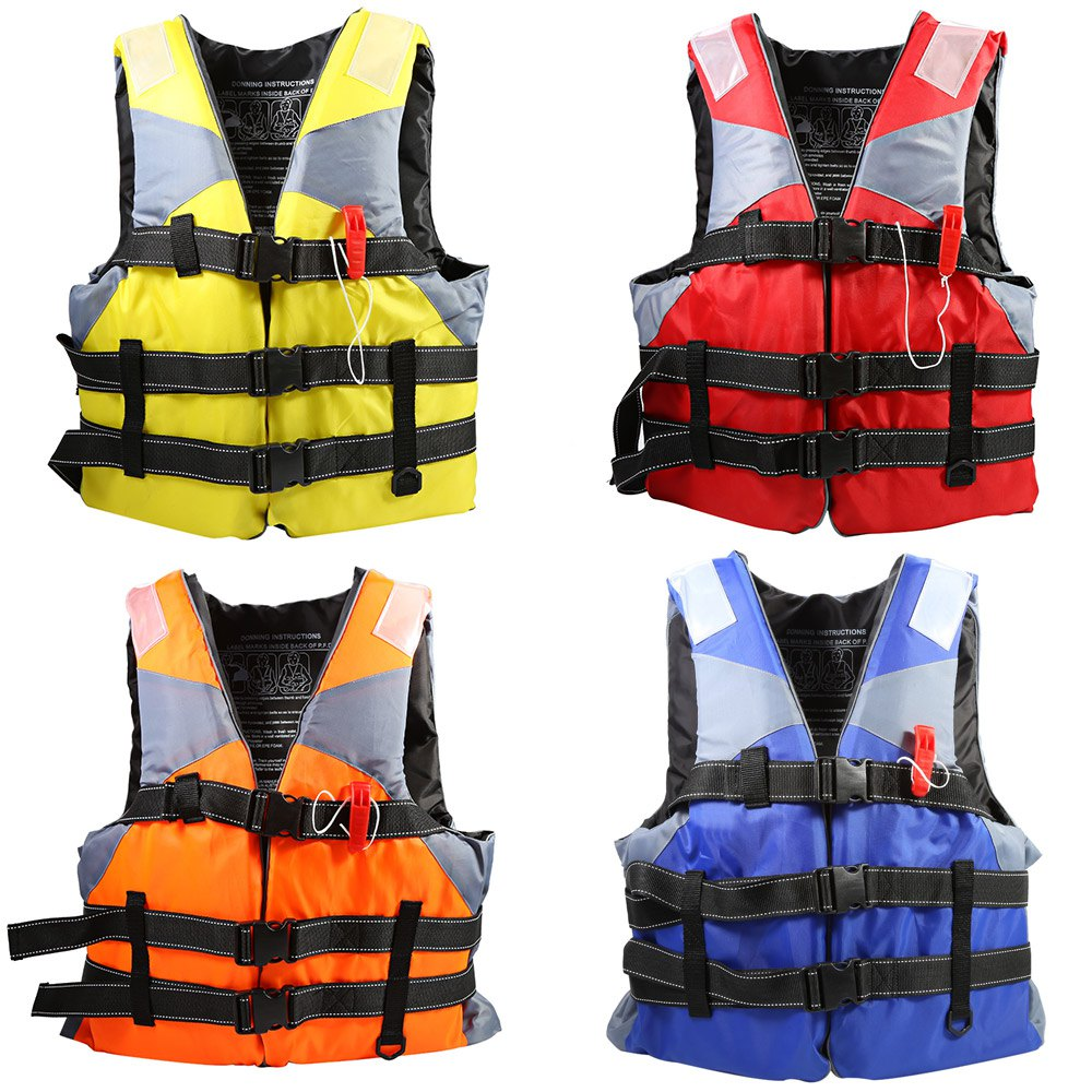 Adult Life Jacket Fully Enclose High Floating Foam Boating Water Fishing Safety Vest With Whistle 4 Color