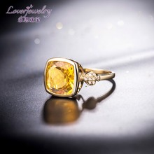 Natural yellow crystal ring,rosegold wedding ring,yellow gold rings for women image