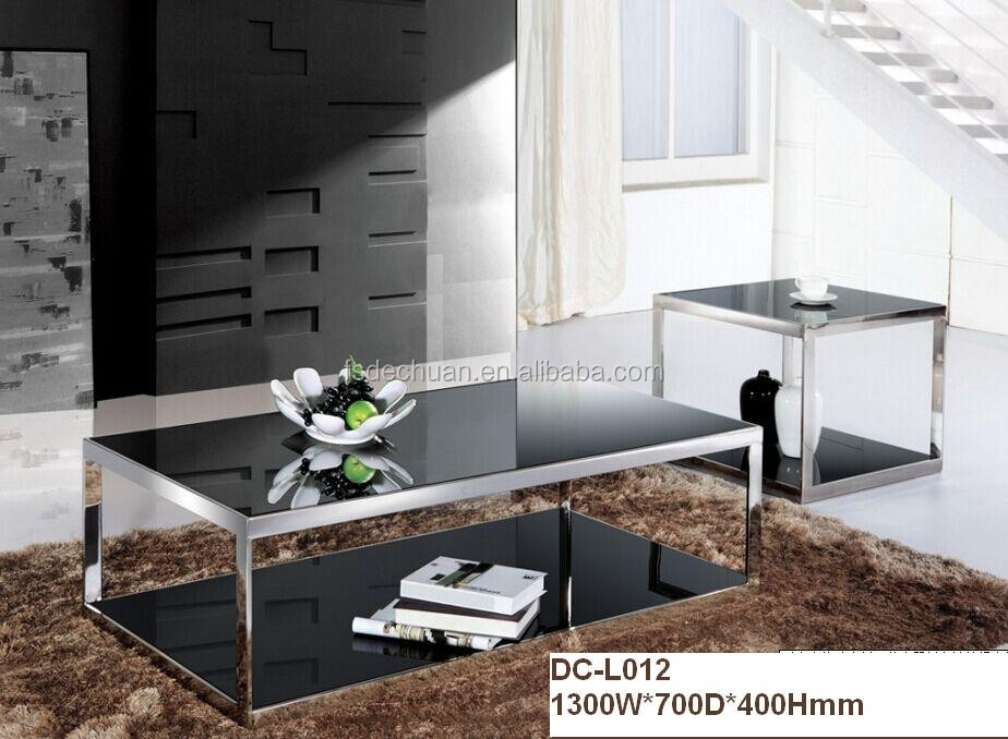 Living Room Furniture Modern glass Center Coffee Table With stainless steel Base