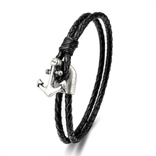 Ally Express Wholesale Fashion Handmade Brown Black Mens Leather Braided Engraved Anchors Bracelets For Men