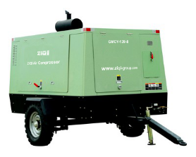 Mobile diesel screw air compressor