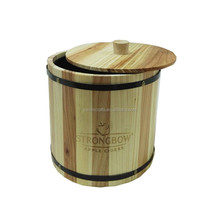 Custom cheap handmade storage wooden ice bucket beer ice barrel with lid
