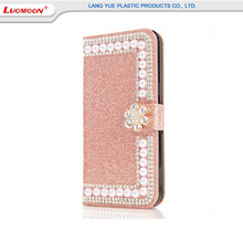 Ladies Fashionable Pearl Diamond leather wallet cell phone case for Samsung s8 plus s7/6 glitter quicksand shinning bumper case
