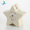 Good quality custom cute dog decal ceramic five-pointed star piggy bank
