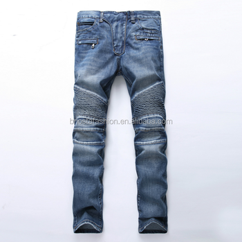 Men Fashion Slim Fit Embellished Biker Jeans