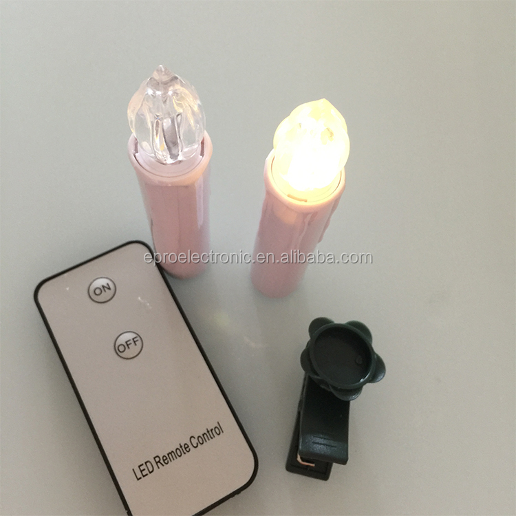 Remote controlled Christmas tree LED Candle taper candle with clip