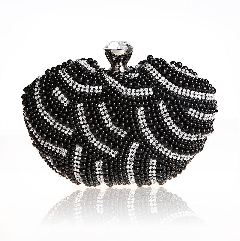 2016 new sweet heart bling bling black diamond clutch bags for women