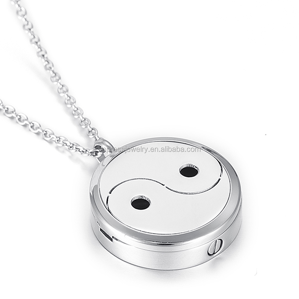 IJP5008 China culture Ying Yang stainless steel aroma diffuser locket cremation pendant