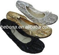 new fashion glitter foldable ladies flat ballerina shoes 2012