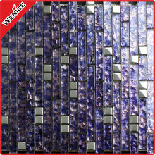 stainless steel mixed glass purple mosaic tile