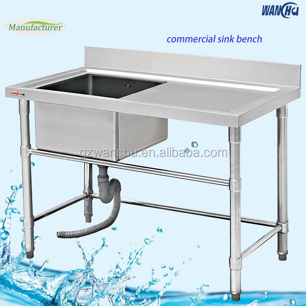 Stainless Steel Restaurant Dish Sink Table/Commercial Kitchen Washing Sink  Bench With Drainboard For Industry