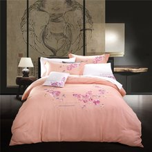 top quality unique cotton floral embroidery bed covers/bed sheet/bed set
