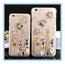 Hot Sale Luxuriou Set auger Cell Phone Cover Shiny Diamond Lady Perfume Bottle Images TPU Case For iphone5/5s/6s/6plus